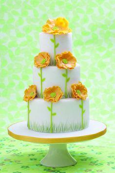 yellow poppi wedding cake