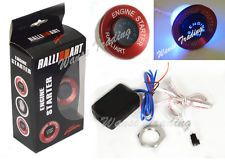 Red RalliArt Car Button Ignition Engine Start Starter Switch Blue Led Light