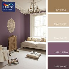 81 Popular Living Room Colors to Inspire Your Apartment Decoration 21 Living Room Color Schemes that Express Yourself Purple Wall Paint, Purple Accent Walls, Purple Bedroom Paint, Plum Walls, Violet Bedroom Walls, Paint Colours For Bedrooms, Dark Purple Walls, Plum Bedroom, Purple Wall Decor