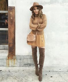 Nude outfit Gucci cross body bag with Brown thigh high suede boots