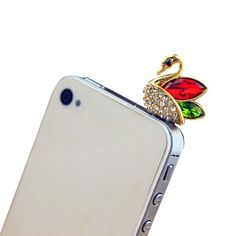 Smartele Bling Rhinestone Crystal CZ Diamond Elegane Swan 35mm Earphone JackAnit Dust PlugCellphone CharmsHeadphone Jack PlugFor Iphone 4 4S 5Samsung Galaxy S3 S4 Note2iPad 2 3 4iPod TouchMotorolaHTCAll 35mm Ear Jack RedGreen ** Find out more about the great product at the image link. Note: It's an affiliate link to Amazon.