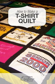 In this class you will learn how to create your own t-shirt quilt from start to finish. Find out the best techniques for making a t-shirt quilt. Quilting For Beginners, Quilting Tips, Quilting Tutorials, Quilting Templates, Quilting Projects, Rag Quilt, Quilt Blocks, Photo Quilts, It T Shirt