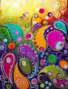 Abstract paisley painting, very colorful, great to hang up in living-room or bedroom.