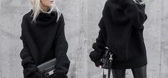 Le pull noir turtleneck PARFAIT (Acné Studios porté par @figtny) pour un look allblack.
