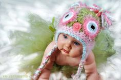 Baby Pink Pastel Owl Hat  PICK A SIZE Crochet with Soft Angel Hair Yarn in Green, Pink, and Blue. Great for a photo prop