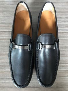New BALLY SWITZERLAND TECNO BIT LOAFERS BLACK Shoes size 13 $525 #Bally #LoafersSlipOns