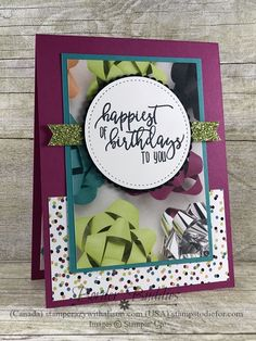 Border Buddy handmade birthday card using the Picture Perfect Birthday stamp set from Stampin Up Bows 2