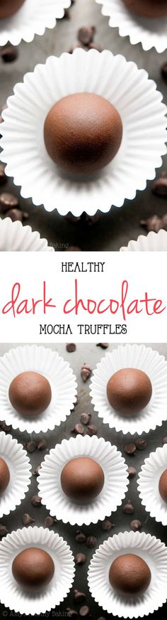Healthy Dark Chocolate Mocha Truffles -- only 4 ingredients & 22 calories! This easy recipe tastes so fancy, even with NO heavy cream or sugar!