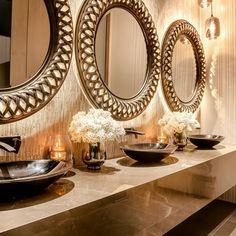 Vitally important to any big event - gorgeous bathrooms! Wedding Venues, Bathrooms, Reception, Mirror, Interior Design, Night, Home Decor, Wedding Reception Venues, Nest Design