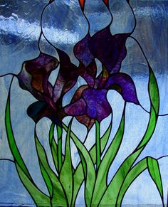 """""""Wedding - Irises 1"""" - stained glass window hanging by Knapp Stained glass"""