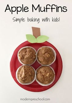 Baking easy apple sauce muffins with kids!  Perfect for a preschool or kindergarten classroom from Modern Preschool!