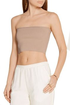 Calvin Klein Collection - Bai Cropped Ribbed-knit Top - Beige - x small