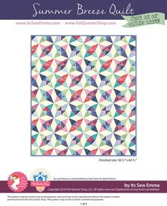 Summer Breeze Downloadable PDF Quilt Pattern It's Sew Emma - Quilt Patterns | Fat Quarter Shop