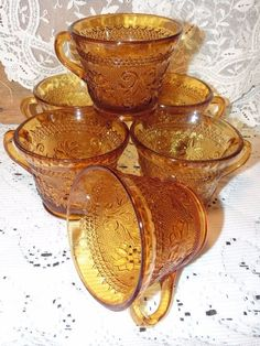 6 Vintage AMBER TIARA Sandwich Glass Teacups Punch Cups #TiaraGlass