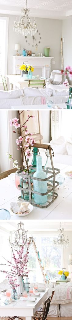 love the mostly white with splashes of color - these accents would pretty in a girls bedroom