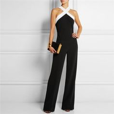 Elegant Black White Trim Sling Halter Sexy Fashion High Wait Romper Pant Jumpsuit S-XL - Loluxe - 2