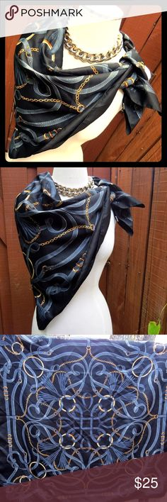 "Large Equine Scarf Shawl Wrap Bridle Horse Bits Beautiful and elegant large black scarf, 35"" square, boasting a fabulous equine style pattern of buckles, straps and chains, with fringe accents. This is such a versatile style and pattern – so many ways to wear it!   Beautiful preowned condition -- no rips, stains or tears. Maker's tag has been removed.   From a smoke-free home. I love to work deals, so if you're interested in other items of mine, feel free to message me and we'll work out a…"