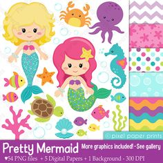 Mermaid graphics to create girls' party decorations Clipart and Digital paper set by pixelpaperprints Mermaid Clipart, Pretty Mermaids, Photoshop Elements, Print And Cut, Art Images, Clip Art, Etsy, Prints, Things To Sell