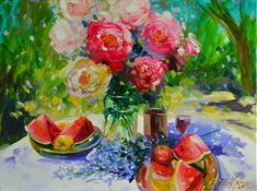 CECILIAROSSLEE..Original oil painting of, ROSES AND WATERMELON, still life, pink and reds, lavender blue, outside setting, oil on canvas