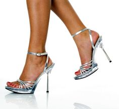 Women's 5 Inch Spike Heel with Inch Platform Sandal Strappy Shoes, Sexy Heels, Stiletto Heels, Shoes Sandals, High Heels, Spike Heels, Silver Heels, Open Toe, Platform