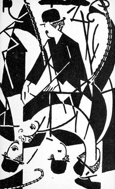 Art Deco drawing of Charlie Chaplin found in the bookBonjour, Cinéma (1921) by Jean Epstein.
