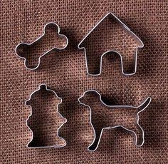 Mini Dog Cookie Cutters: Dog, Hydrant, Bone & Dog House | www.bakerspartyshop.com