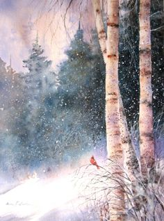 Ann Fullerton WATERCOLOR- love the snow and the little cardinal.