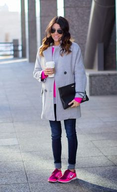5 Tips For Wearing Sneakers with Jeans at www.StyleBlueprint.com hello fashion blog cuffed jeans with pink sneakers