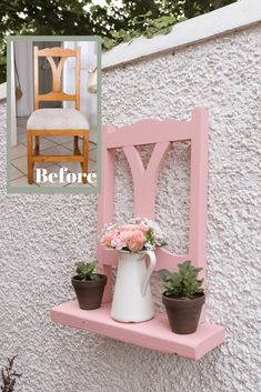 Wie man einen Stuhl in einen Gartenpflanzer und ein Regal verwandelt - Gartenhandwerk - Haso-. - Wie man einen Stuhl in einen Gartenpflanzer und ein Regal verwandelt – Gartenhandwerk – Haso-Blo - Garden Crafts, Garden Projects, Garden Art, Home Crafts, Garden Design, Diy And Crafts, Diy Projects, Crafts For The Home, Yard Art Crafts