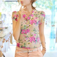 Nice quality 2014 casual women blouse short-sleeve floral print chiffon blouse top, 3 colors, Size M/L/XL/XXL Print Chiffon, Chiffon Shirt, Floral Chiffon, Top Chic, Floral Fashion, Beautiful Blouses, Blouses For Women, Yellow Blouse, Cool Outfits