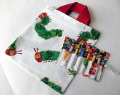 Birthday Party Favor Crayon Roll Set of 4 - Holds 6 Crayons The Very Hungry Caterpillar Fabric. £10.00, via Etsy.