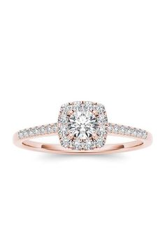 In Love by BRIDES. 3/8 carat certified diamond cushion halo 14K pink gold engagement ring, $798, In Love by BRIDES available at Walmart