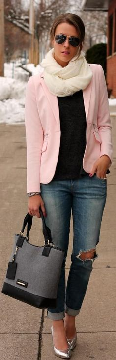 Winter Pastels Apparel fashion clothing outfit style women pink coral jacket blazer top black  handbag blue jeans spring casual street sunglasses