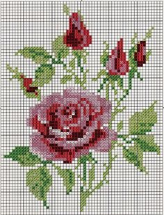giant page of rose cross stitch patterns