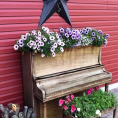 """My piano - that my husband took lesson's on 25 years ago.  Too bad the country critter's cleaned off the blooms from the """"piano seat."""""""