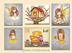 Yellow gray decor, Nursery art, baby nursery decor, Kids art ballerina, fairy art, Nursery Decor, Set of 6 prints, kids wall art, Girls art