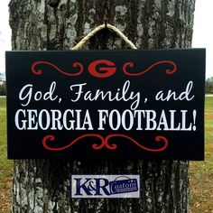 UGA GA Bulldogs Dawgs sign God Family by KRCustomWoodcrafts