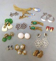 Gorgeous Lot of Vintage Earrings & Brooch: Trifari, Monet, Hobe, Volupte, S. Cov  | eBay