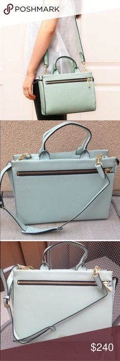 Kate Spade Saturday Seaforam Bag Kate Spade Saturday Leather crossbody satchel with zip-front pocket Adjustable & removable padded shoulder strap / Handheld strap One interior pocket Zip-top closure  Materials: Leather / Jacquard lining / Metal hardware  Size: 7''H x 9.5''W x 4.25''D Handle drop: 4.25''🚫NO TRADES. Please use the make an offer function as I do not negotiate in the comments. Thanks! Shoulder strap: 22'' includes dust bag! kate spade Bags