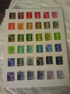 My latest project - postage stamp art for the office (Stephanie McLean)