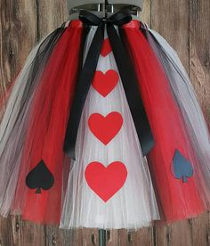 Queen of Hearts, Adult Tutu, Teen Tutu, Less Full Tutu, Adult Costume Tutu, Custom Tutu, up to 36 long, Womens Tutu, Halloween Tutu, Alice in Wonderland This listing is for a custom, handmade tutu made for pre-teens, teenagers and adults. This tutu is NOT pre-made. It is a made-to-order
