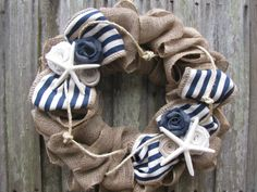 Nautical Beach Burlap Wreath Navy Blue and White by TheRuffledPage   My aunt is the one who owns this shop! I love her wreathes!