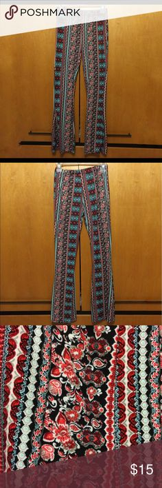 Boho flare leggings Really soft. No flaws except missing tag. They're a size small. Fitted in the upper portion and thighs and then flare out. Cute boho pattern. Pants Boot Cut & Flare