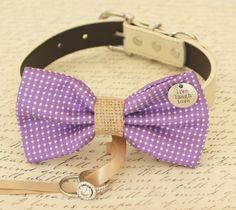 Purple Dog Bow Tie collar,  Dog ring bearer, Pet Wedding accessory, Charm, Live, Love, Laugh, Burlap, Proposal, Amethyst Orchid, Polka dots