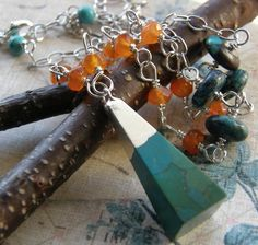 Blue and Orange Long Necklace, Turquoise and Carnelian Long Necklace. $52.00, via Etsy.