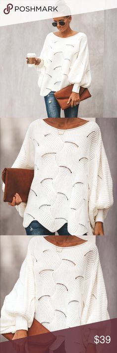 4240a83a8e9 VICI Dolman knit sweater - white Such a cute sweater! So sexy and  flattering!