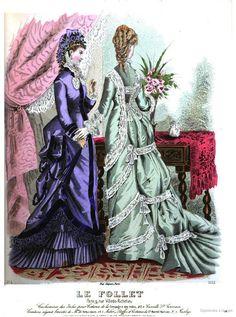 March 1876 le follet, journal du grand monde Victorian Era Fashion, 1870s Fashion, Victorian Steampunk, Victorian Women, Vintage Fashion, Fashion Artwork, Fashion Prints, Jean Délavé, 19th Century Fashion