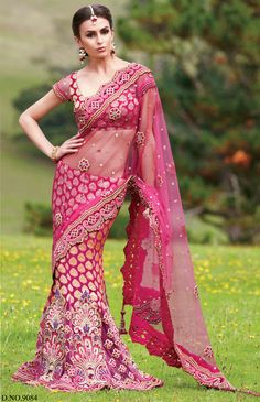 Magenta Color Lehenga Style Saree