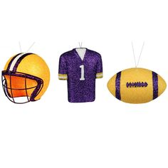 """Bag of 3 Christmas Ornaments - Jersey - Football - Helmet Material: Plastic Color: Yellow, Purple, White Great for LSU fans Size: Jersey 4.5""""; Football 4.5""""; Helmet 4"""""""