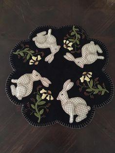 "Jan Unroe: My first wool appliqué. Mr. Rabbit Table Mat 17"". Cricket Street Wool."